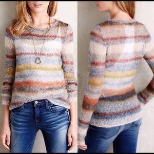 Anthropologie Moth striped sweater Sz Large Petite